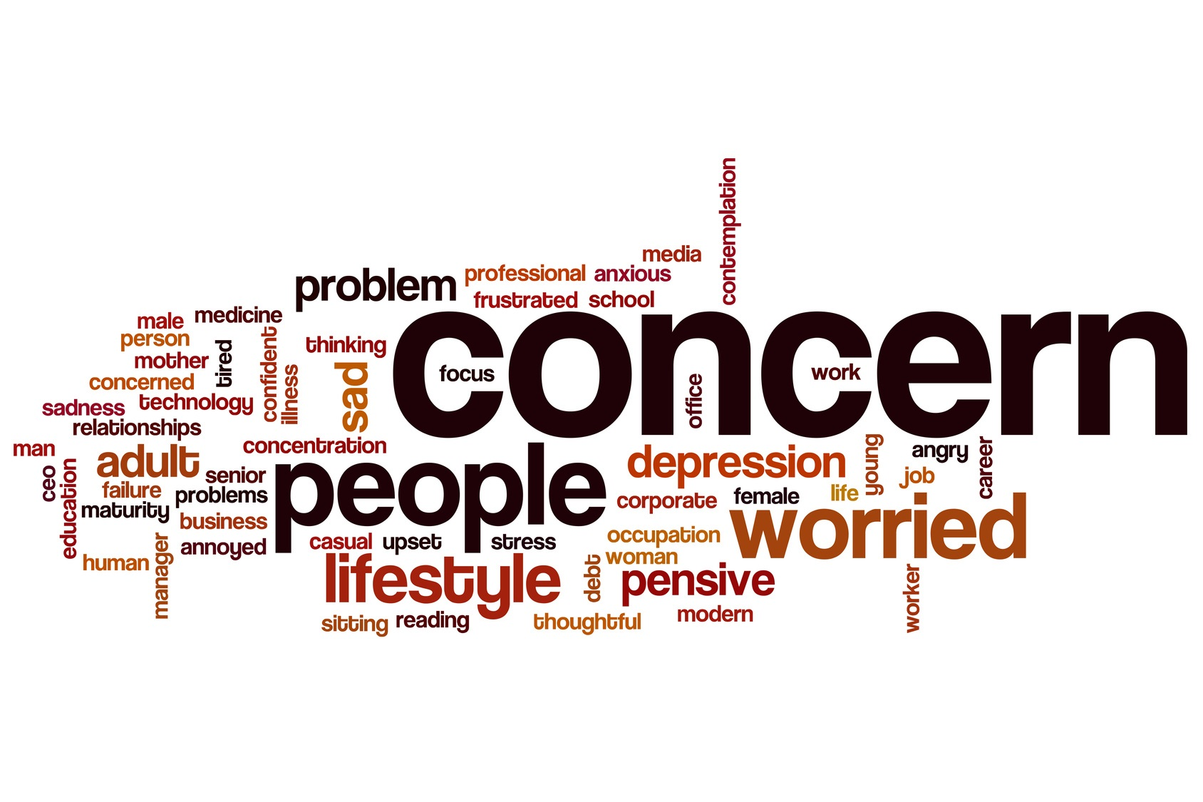 Concern word cloud concept with sad problems related tags